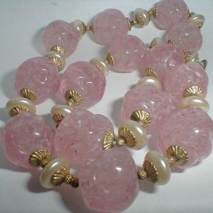 "Jewelry - 16"" Pink Speckled Art Glass Antique Necklace"